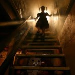girl in dark basement